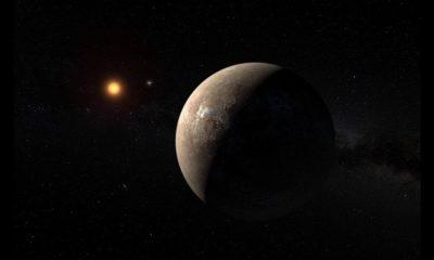 صورة تقريبية لكوكب «Proxima b» ونجم «Proxima Centauri»  عدسة: M. Kornmesser