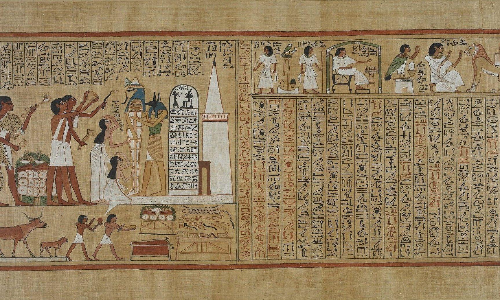 جزء من لوحة من أحد نسخ كتاب الموتى - تصوير: داليا البيرجي