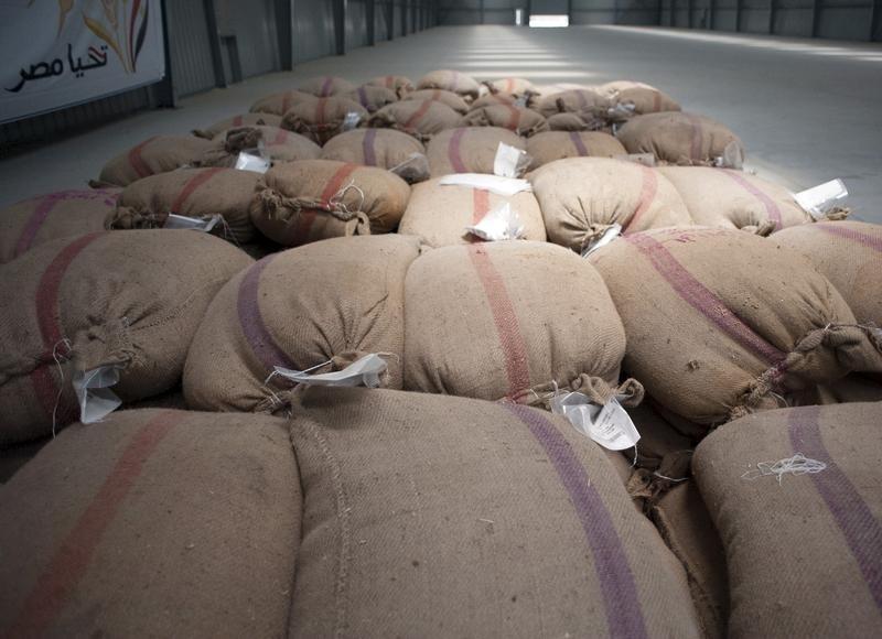 أجولة من القمح في مستودع بالاسكندرية يوم 7 يوليو تموز 2015. تصوير. شادي بشرى - رويترز.