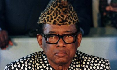Zaire's President Mobutu Sese Seko leans on his cane during press conference on the South African na..